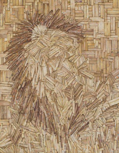 ann robinson, artiste, collage, tableau lion